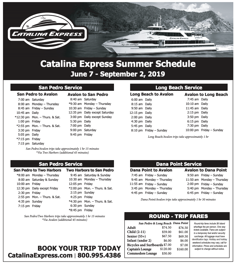 Catalina Island Summer 2019 Schedule